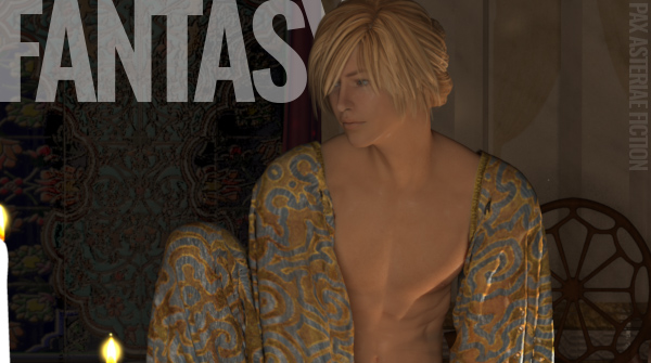 Image of a semi-shirtless blond man, with the text 'Fantasy' and 'Pax Asteriae Fiction'