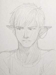 Sketch by Pax Asteriae of dark elf Blake