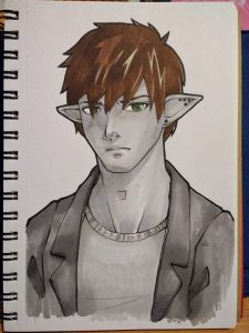 Bad cellphone photo of a drawing of a brown-haired dark elf in grey T-shirt and black suit jacket.