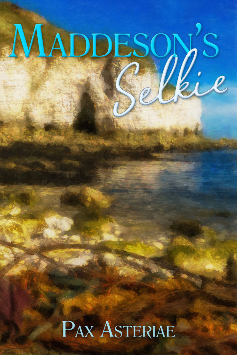 Book cover: image of a stony cove with a bay and a cliff in the background, and the title 'Maddeson's Selkie' at the top and 'Pax Asteriae' at the bottom.