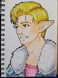Bad cellphone photo of a drawing of a blond-haired Caucasian elf in a pink T-shirt and a fur-collared denim jacket.