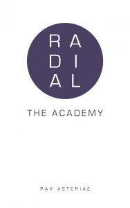 Book cover: White background with a purple circle containing the word 'Radial' and the purple text 'The Academy' and 'Pax Asteriae' beneath.