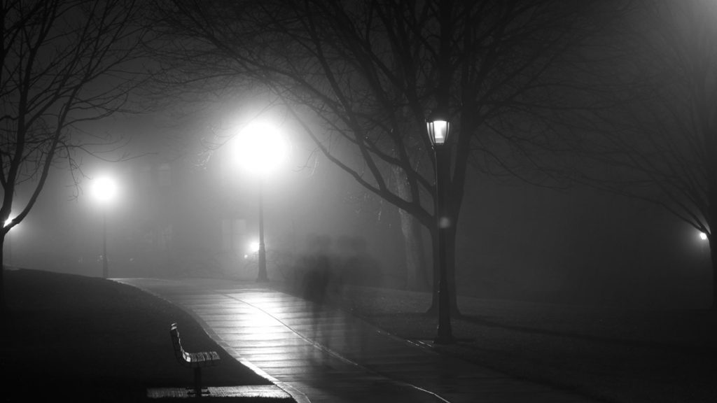 A nighttime park in black and white by Jesse Bowser on Unsplash