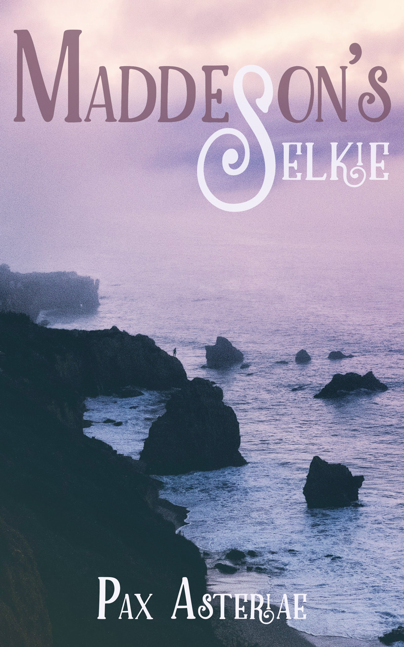"""Purple-toned book cover of m/m romance story """"Maddeson's Selkie"""" by Pax Asteriae showing rocky cliffs and a distant figure about to dive in."""