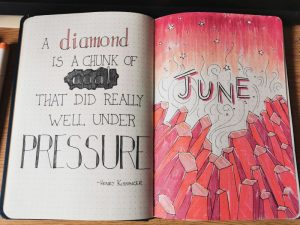Pax Asteriae's June 2020 bullet journal page, showing a qute on the left and red rocks on the right.