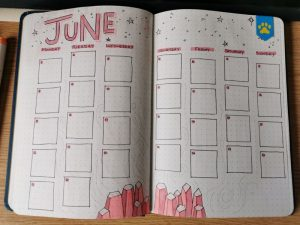 Pax Asteriae's June 2020 bujo daily planner, looking remarkably empty