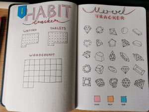 Pax Asteriae's June 2020 bujo habit and mood trackers