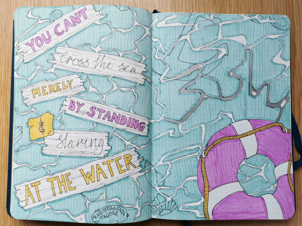 "Pax Asteriae's July 2020 bullet journal title page, with a distinctly nautical theme and a natty purple life ring. ""You can't cross the sea merely by standing and staring at the water."""