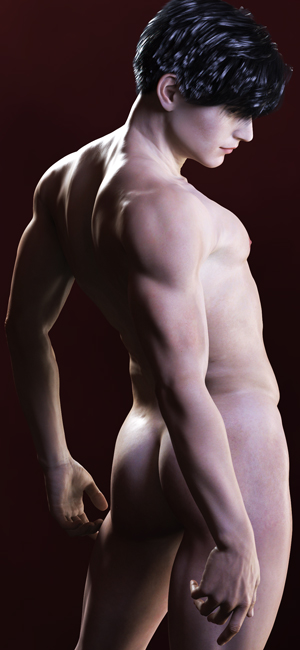 A 3D image of a naked Alex Jaska, created by Pax Asteriae for their cellphone. (Not this image, obviously; this one's far too small.)