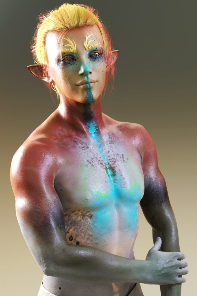 3D render by Pax Asteriae of Ianotte, a yellow, red and blue-skinned mid-twenties blond man.