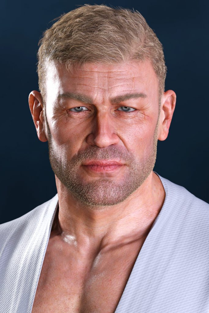 A 3D render by Pax Asteriae: a portrait of middle-aged blond man with stubble wearing a karate gi. Slight resemblance to Sean Bean, but only slight... and not intended.