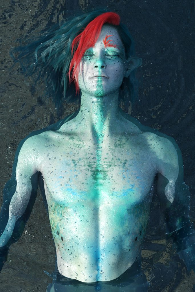 3D render by Pax Asteriae of the merian Vaana, a mid-twenties blue-haired, blue-skinned man laying on his back in water.