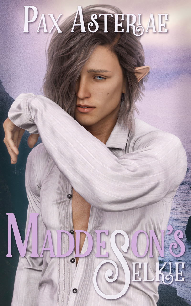 Book cover: a brunet man with his left arm raised to half-hide his face with a backdrop of cliffs against a purple sky. Title: Maddeson's Selkie; author: Pax Asteriae.