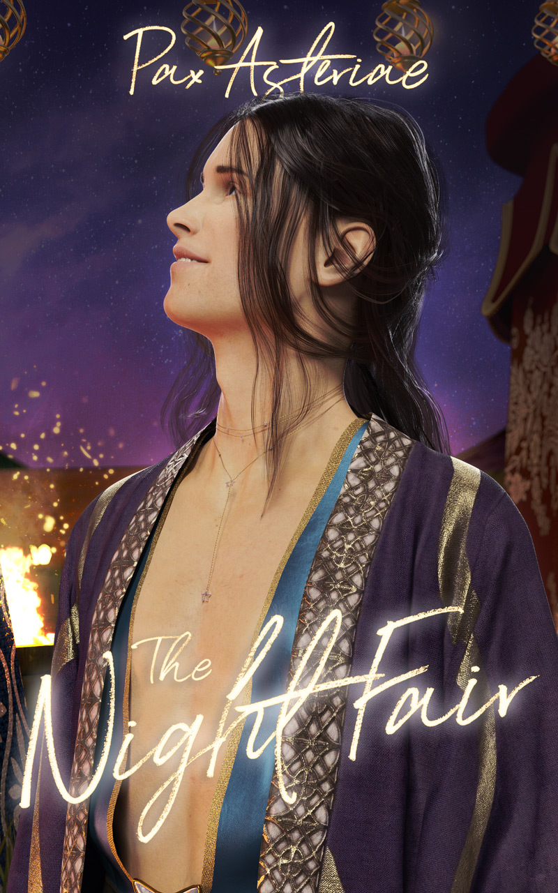 Book cover: showing a white brunet man with a bare chest staring up at the sky, with tents and a fire behind him. Title: The Night Fair; author: Pax Asteriae