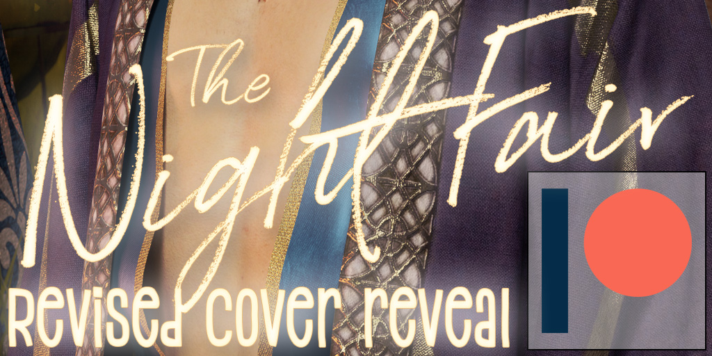 "A man's bare chest and glowing text that reads ""The Night Fair revised cover reveal"""