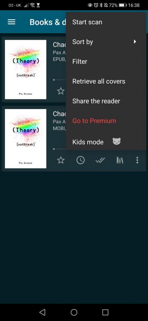 ReadEra app showing the main menu