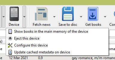 The Calibre Device menu, showing the 'Eject this device' option.